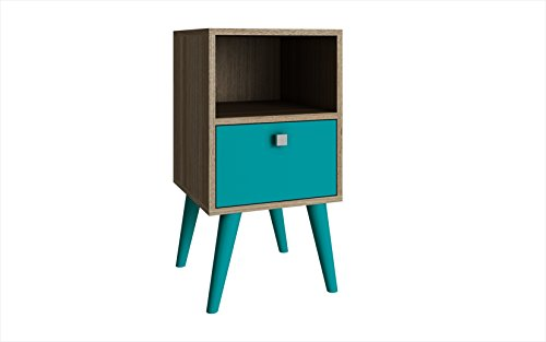 Manhattan Comfort Abisko Collection Mid Century Modern Free Standing 1 Drawer End Table/Side Table, Oak and Aqua