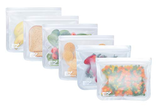 E-Z Seal EXTRA THICK Reusable PEVA Storage Bag (6 Pack Large) for Food | Kids Snacks | Ziplock | Freezer | Lunch Sandwiches | Fruit | Leakproof | Make-up | Travel Items | Meal Prep | Home Organisation