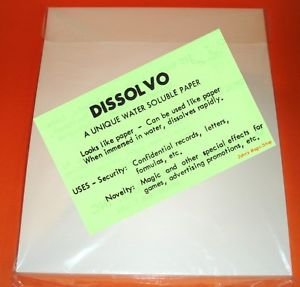 """Dissolvo Paper - Large Sheets (10.5"""" x 8.75"""") Pack of 5 Large Sheets"""