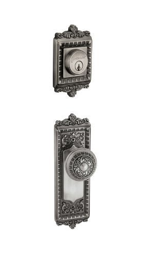 - Grandeur Windsor Plate with Windsor Knob and Matching Deadbolt Complete Single Cylinder Combo Pack Set, Antique Pewter