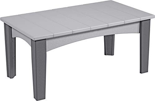 - LuxCraft Poly Island Coffee Table, Weather Resistant Outdoor Patio Garden Backyard Furniture, Dove Gray & Slate