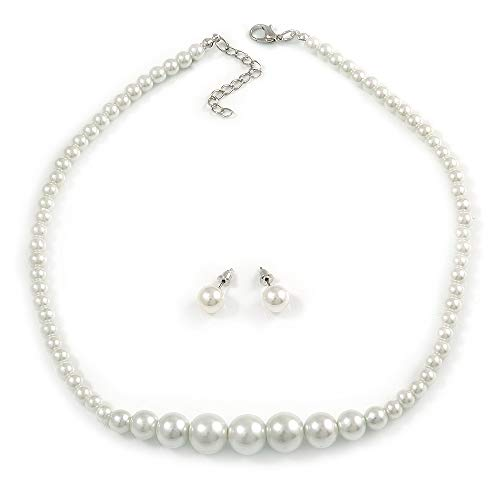 (Avalaya White Graduated Glass Faux Pearl Necklace & Drop Earrings Set in Silver Plating - 44cm L/ 4cm Ext )