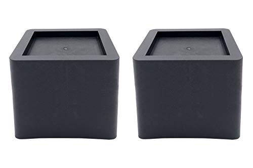 DuraCasa 5 Inch Bed Risers 2 Pack- Fits Huge 5.5 Inch Bed or Furniture Post, Creates an Additional 5 Inches of Height or Storage! Heavy-Duty Table, Chair, Desk or Sofa Riser (2, 5 Inch Black)