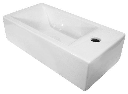 ALFI Brand AB108 Small Modern Rectangular Wall Mounted Bathroom Sink - White by Alfi