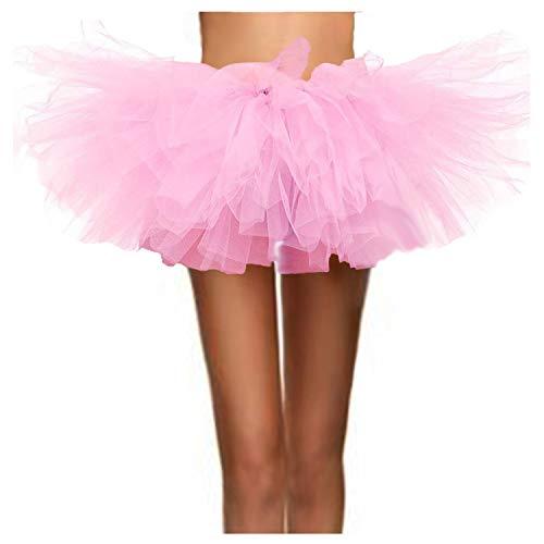 ASSN Women's Classic 80s Mini Puffy Tutu Halloween Run Bubble Ballet Skirt 6-Layered Pink -