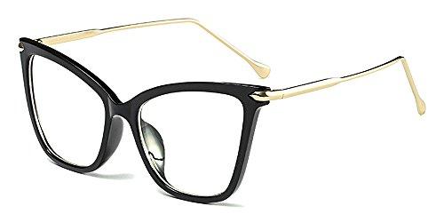 Gafas Retro Gafas BOZEVON Clásico Sol Ojo de Mujer Fiesta Oversize Negro Moda de Gato Transparente Transparente rYqqHR5w