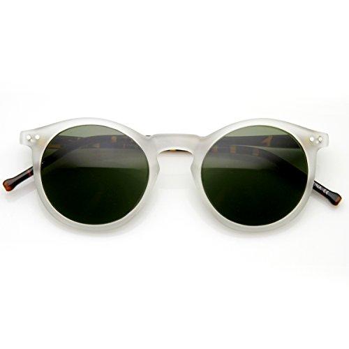 zeroUV - Classic Lux P3 Shape Keyhole Bridge Metal Rivet Circle Round Sunglasses (Frost-Tortoise - Keyhole Bridge