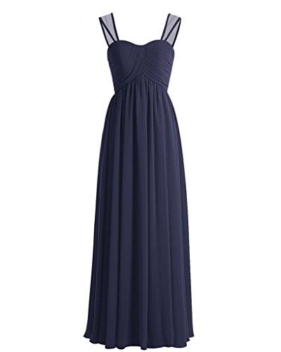 ASBridal Bridesmaid Prom Chiffon Dress Long Dress Womens Navy Pleated Blue Sweetheart Aline rqUgrO7
