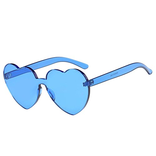 Perman Fashion Womens Sunglasses, Rimless Frame Heart-shaped Candy Colored Integrated UV Plastic - Frames Glasses Soho
