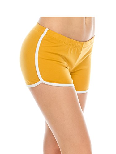 Athletic Running Exercise Gym Yoga Booty Dolphin Track Shorts for Women Mustard S