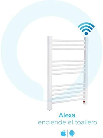 Compatible with iOS and Android /·  Alexa and Google Home 770 x 500mm /· First Low Consumption Towel Rail with WiFi Heated Towel Rail Radiator Barcelona White 250W /· ON//Off Thermostat /·