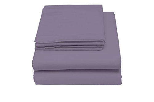 600 Thread Count Sheet Set, 100% Cotton Sateen by Lushulux (Purple, Queen) by LushuLux