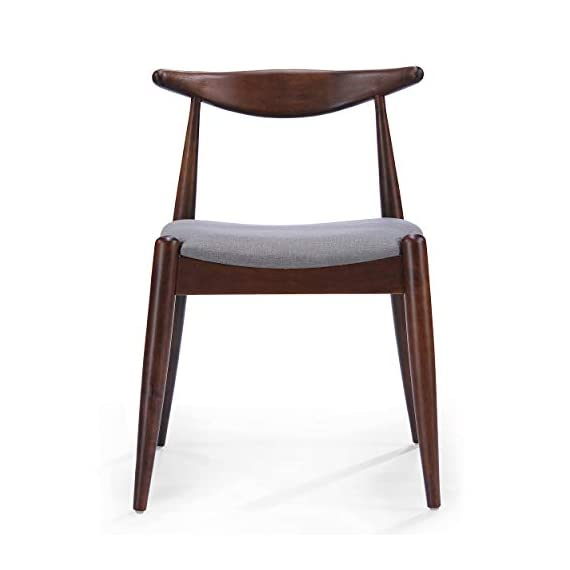 Christopher Knight Home Francie Fabric with Walnut Finish Dining Chairs, 2-Pcs Set, Dark Beige / Walnut - Includes: Two (2) Dining Chairs; Dimensions: 21.25 inches deep x 21.45 inches wide x 29.52 inches high Seat Width: 18.25 inches Seat Depth: 18.00 inches Seat Height: 17.75 inches Fabric Composition: 100% Polyester - kitchen-dining-room-furniture, kitchen-dining-room, kitchen-dining-room-chairs - 31gwLAMG8aL. SS570  -