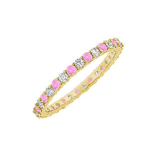 10 Carat Pink Sapphire and CZ Vermeil Eternity Bangle ()