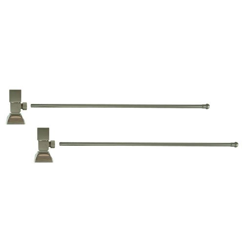 3/8 in. O.D x 20 in. Brass Rigid Lavatory Supply Lines with Square Handle Shutoff Valves in Brushed Nickel by Barclay