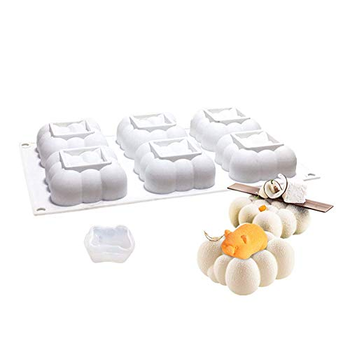 Pig Pudding - Fyuan Silicone Mold 3D Bakeware Dessert Mousse Moulds for Cake Decoration DIY Jelly Pudding Candy Chocolate, 6 Holes Cloud with 1 Small Pig, White