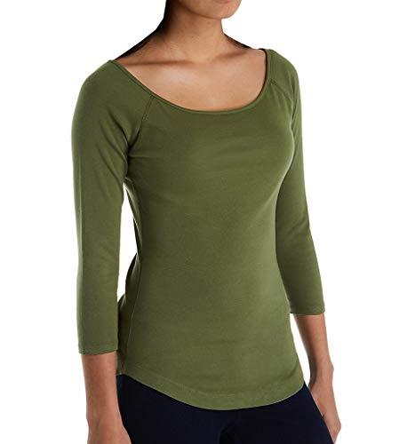 Top Hem Knit Ballet - Three Dots Heritage Knit 3/4 Sleeve Ballet Top w/Curved Hem (AA4586) S/Spanish Olive