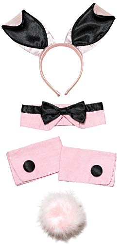 Ladies Sexy Pink Bunny Girl Waitress Role Play Hen Do Night Party Fancy Dress Costume Outfit Accessory Kit