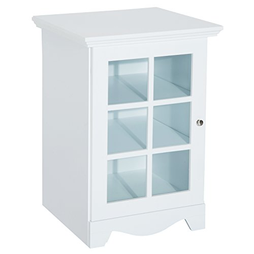 HomCom Wooden Accent End Table w/ Glass Door Storage - White (Living Room Cabinets Display)