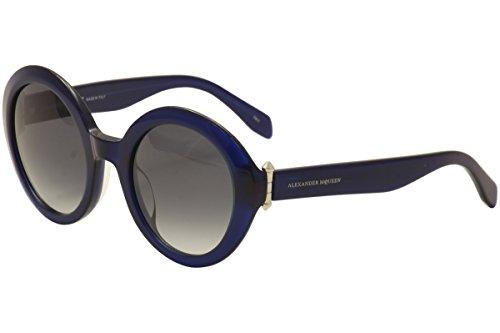 Alexander McQueen - AM0002S, Round, acetate, women, BLUE/GREY SHADED(003 A), - Mcqueen Eyewear