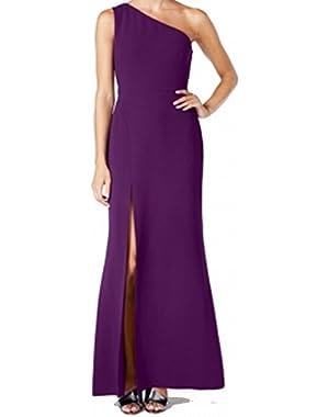 Calvin Klein Women's Thigh Slit One Shoulder Sheath Dress Purple 4