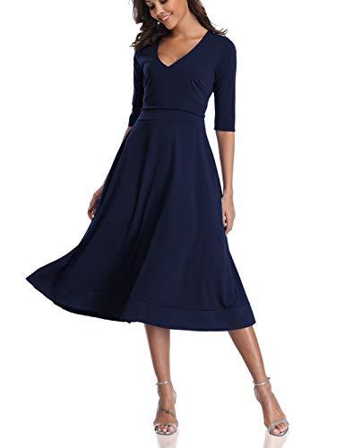 (CHUNNA Womens Half Sleeve V-Neck High Waist Midi Dress with Pockets (XL, Navy Blue))