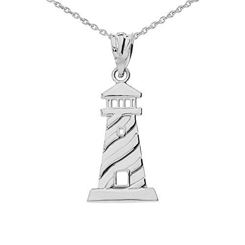 Unique Lighthouse Charm Pendant Necklace in Sterling Silver, 20