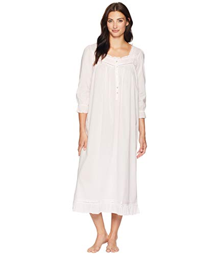 Eileen West Women's Cotton Lawn Long Sleeve Ballet Nightgown Solid Rose X-Large (Nightgown Pintucked)