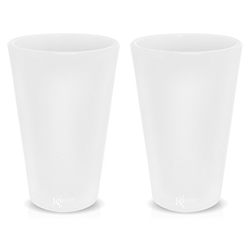Frosted Pint Glass (Silicone Pint Glasses, Patented Unbreakable Pint Glass from Silipint, Set of 2 Frosted  White, 16oz each)