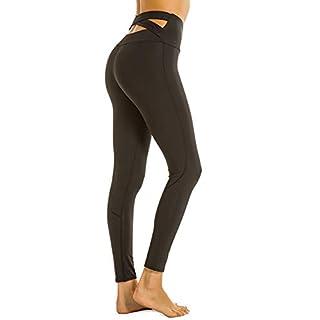 Women's Wide Crisscross Waistband High Waisted Tummy Control Active Workout Pants Yoga Leggings Black