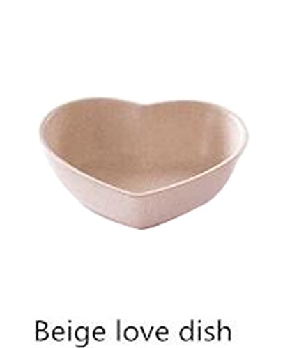 Price comparison product image JIANGTAOLANG 1Pcs Kitchen Food Sauce Dish Bowl Straw Sauce Small Plate Vinegar Flavor Dish C492 Beige heart