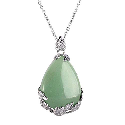 HERLANKKI Natural Gemstone Teardrop Pendant Carved Flower Necklace Healing Crystal Chakra Jewelry for Women ()