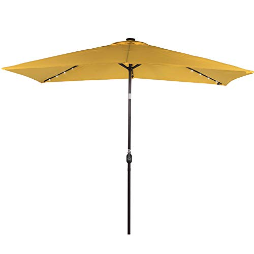 Sundale Outdoor Rectangular Solar Powered 22 LED Lighted Patio Umbrella Table Market Umbrella with Crank and Push Button Tilt for Garden, Deck, Backyard, Pool, 6 Alu. Ribs, 10 by 6.5-Feet (Yellow)