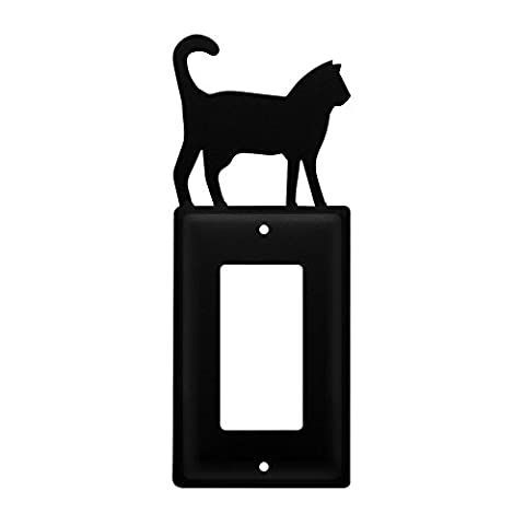 Iron Cat Single Modern Switch Cover - Heavy Duty Metal Light Switch Cover, Electrical Outlet Covers, Lightswitch Covers, Wall Plate (Cast Iron Single Rocker)