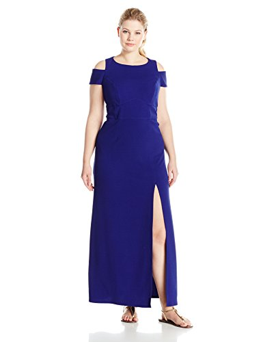 (ABS by Allen Schwartz Women's Plus Size Shoulder Maxi Dress, Midnight, 1X)
