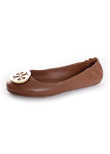 179e85ec039419 Galleon - Tory Burch Women s Minnie Travel Brown Nappa Leather Flat ...
