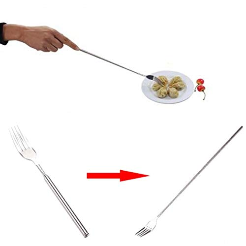 (Extendable Fork - 1 Piece Funny Fork Extension Long Handle Trick Prank BBQ Tool Stainless Steel Forks Set Barbecue Supply)