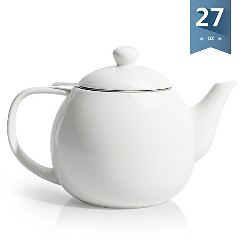 Sweese 2307 Teapot, Porcelain Tea Pot with Stainless Steel Infuser - 28 ounce, White