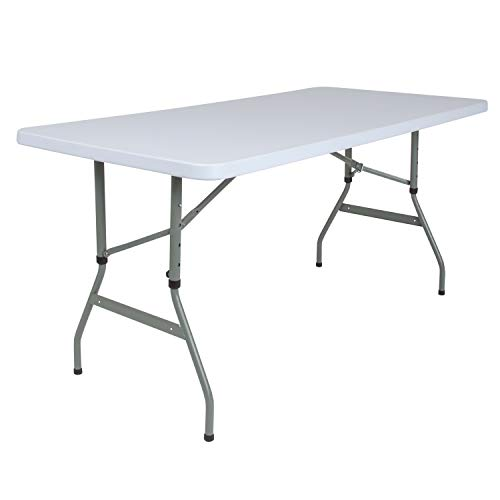 Flash Furniture 30''W x 60''L Height Adjustable Granite White Plastic Folding Table