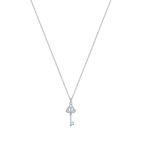 (La Joya 1/10 ct Round White Diamond 10K White Gold Royal Key Diamond Pendant Necklace for Womens)