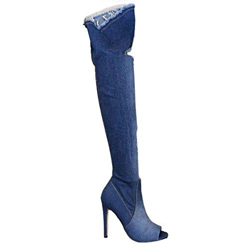 nuovi ginocchio jeans scuro stivali KS7039 denim sopra Blu alti donna strappati Scarpe Toocool wqIz84