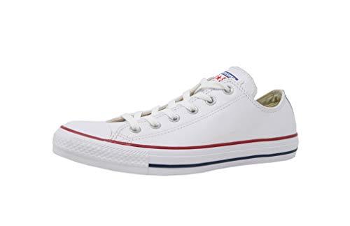 Converse Unisex Chuck Taylor Leather White Sneaker - 5 Men - 7 Women (Converse Women Leather)
