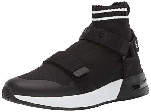 A|X Armani Exchange Men's Double Strap High Top Sneaker Black/White, 7 M US