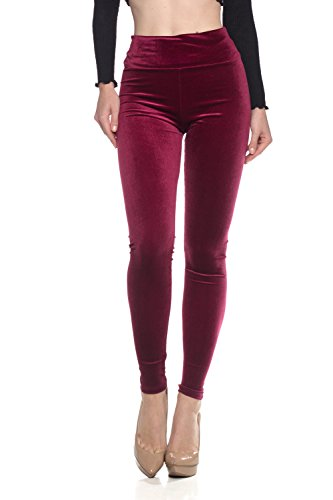 (Women's J2 Love Velvet High Waist Leggings, Medium, Plush Burgundy)