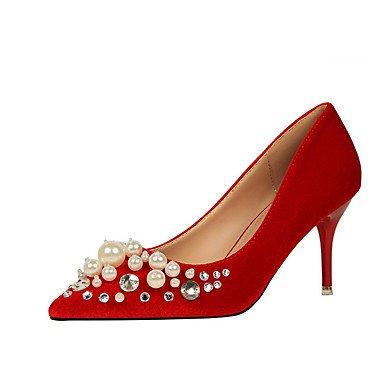 FYios Otoño perla Stiletto Oficina Talones US6 UK4 Verano Comfort Primavera talón imitación Carrera Polipiel vestido amp;Amp; CN36 EU36 R4BHR