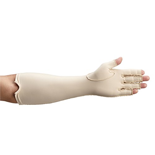 Rolyan Forearm Length Left Compression Glove, Open Finger Compression Sleeve to Control Edema and Swelling, Water Retention, and Vericose Veins, Covers Fingers to Forearm on Left Arm, Medium