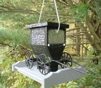 Amish Buggy Garden - Old Order Amish Unique Buggy Bird Feeder for Your Home and Garden Landscape Decor. Functional Birdfeeder to Feed All of Your Feathered Friends. Cast Aluminum Wheels and Shafts Handmade in the USA