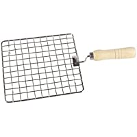 Royals Square Barbeque Jali Roti Roast Grill Papad Roaster Chapati Toast Grill Wooden Handle paneer tandoor net (20 cm)