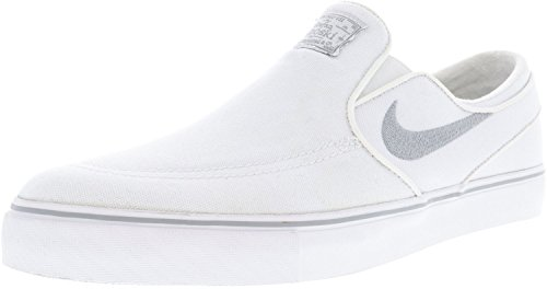 NIKE Men's Zoom Stefan Janoski Slip Canvas White/Wolf Grey Ankle-High Skateboarding Shoe - 9M Canvas Slip Shoes