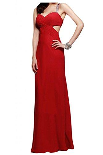Toscana novia abendmode rueckenfrei vestidos de noche de gasa largo vestido de fiesta duro partido de la bola rojo 50